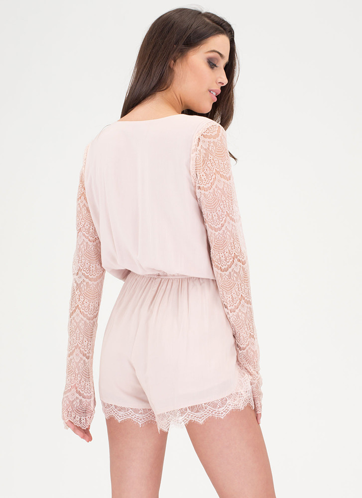 New Romance Plunging Lace Romper BLUSH