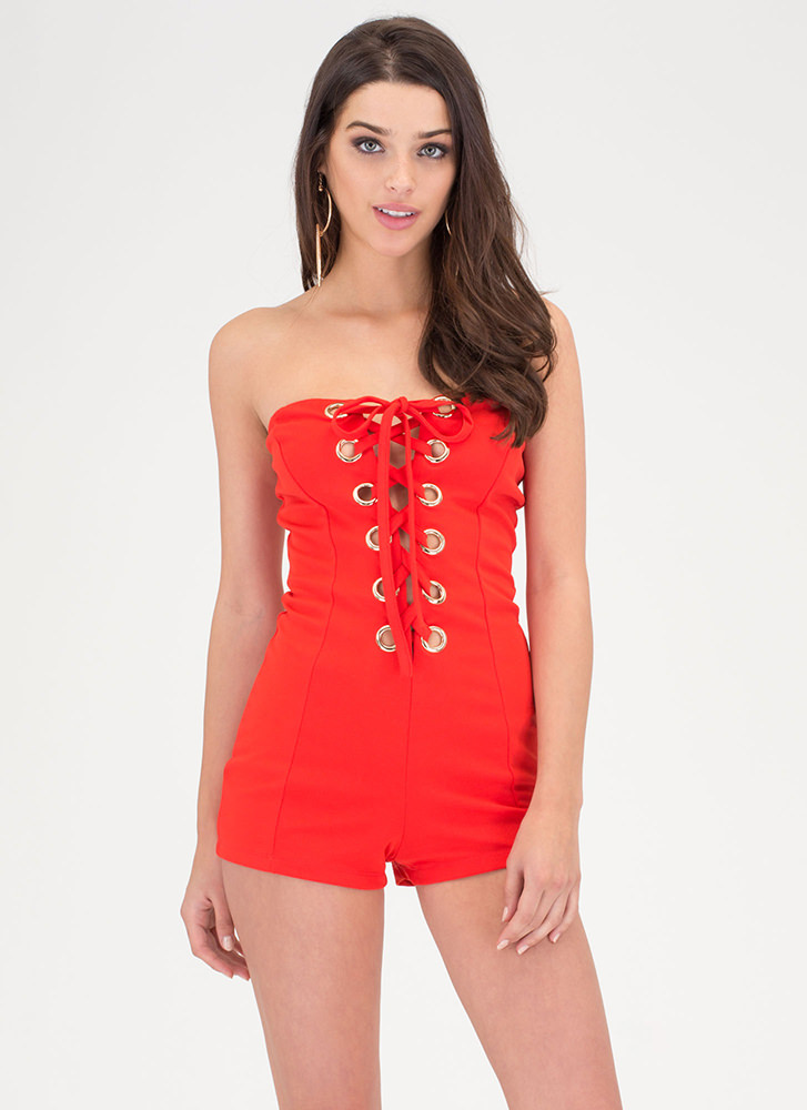 Tie Job Strapless Lace-Up Romper RED