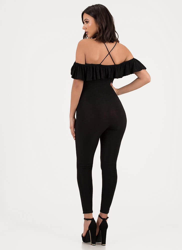 Chic Breeze Ruffled Off-Shoulder Jumpsuit BLACK (You Saved $28)