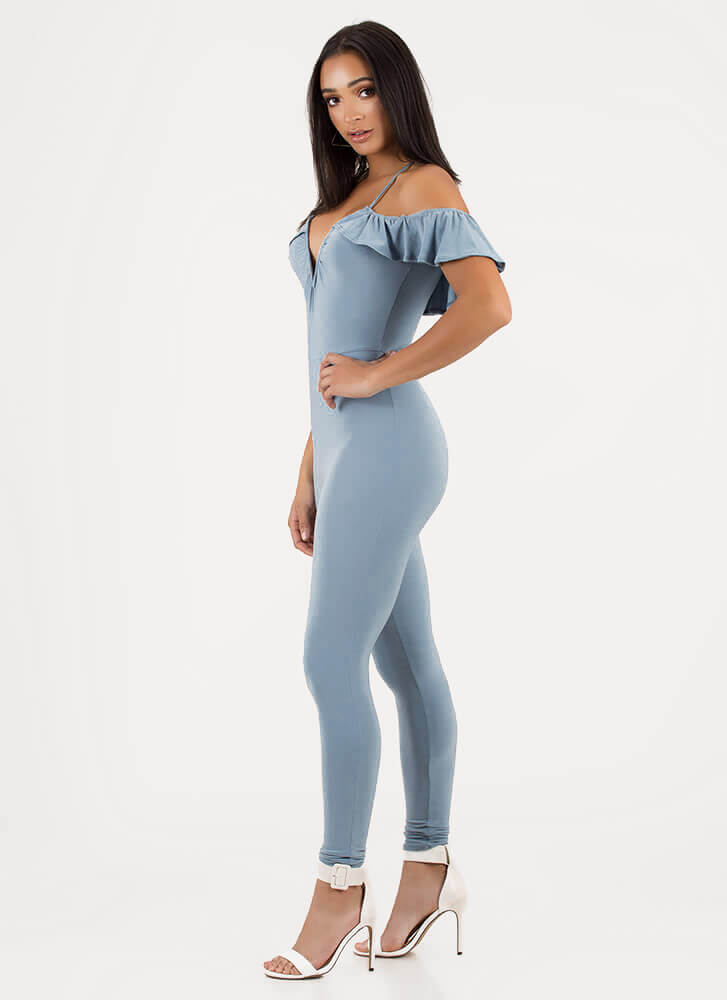 Chic Breeze Ruffled Off-Shoulder Jumpsuit BLUE (You Saved $28)
