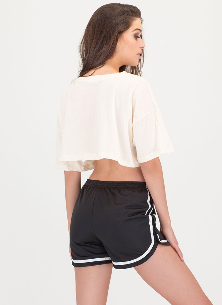 Race To The Finish Graphic Crop Top NATURAL