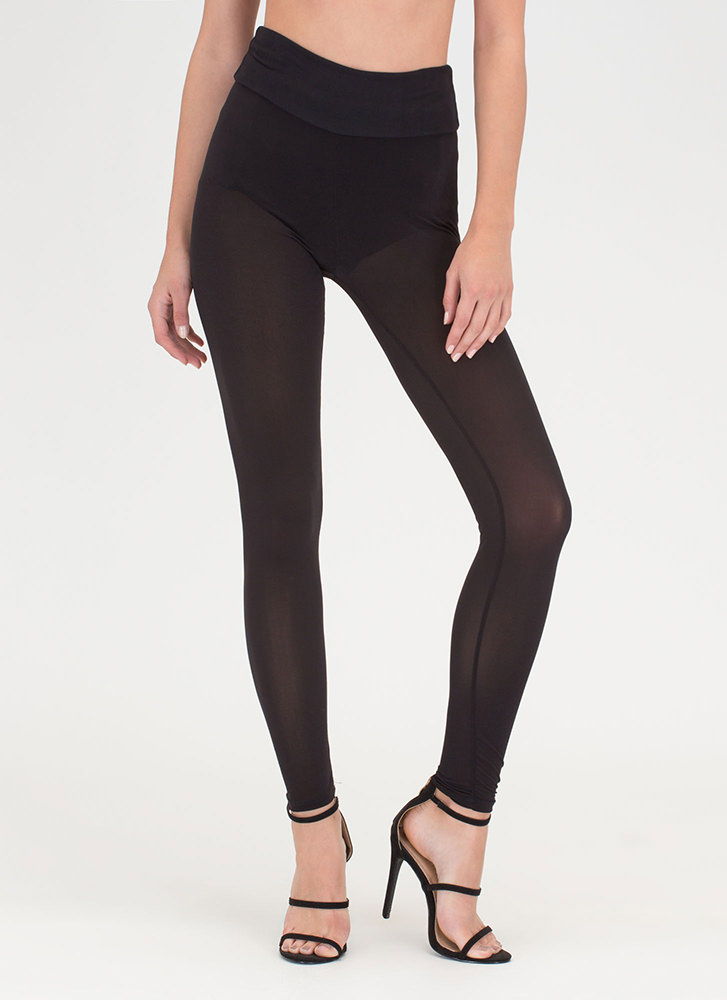Sheer 'N There Mesh Leggings BLACK