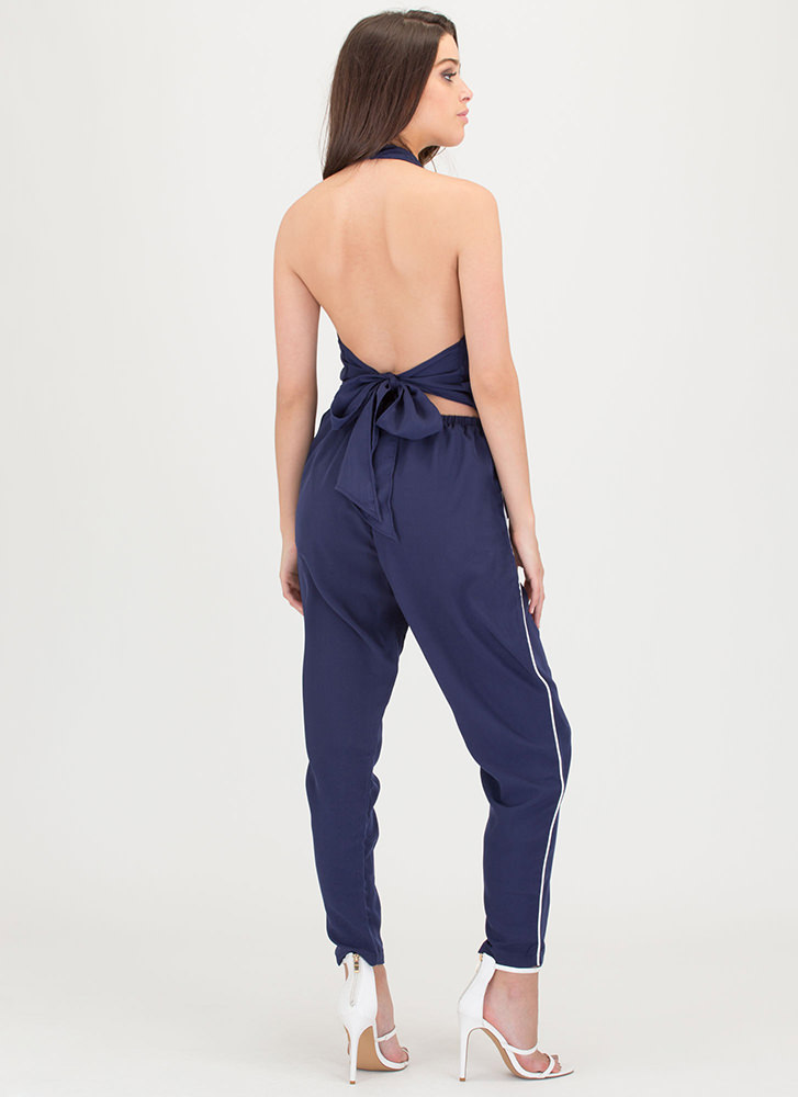 Sport This Halter Drawstring Jumpsuit NAVY