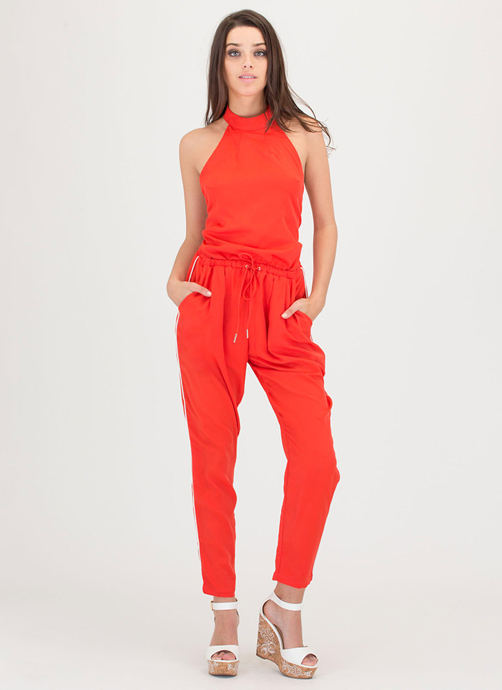 Sport This Halter Drawstring Jumpsuit RED