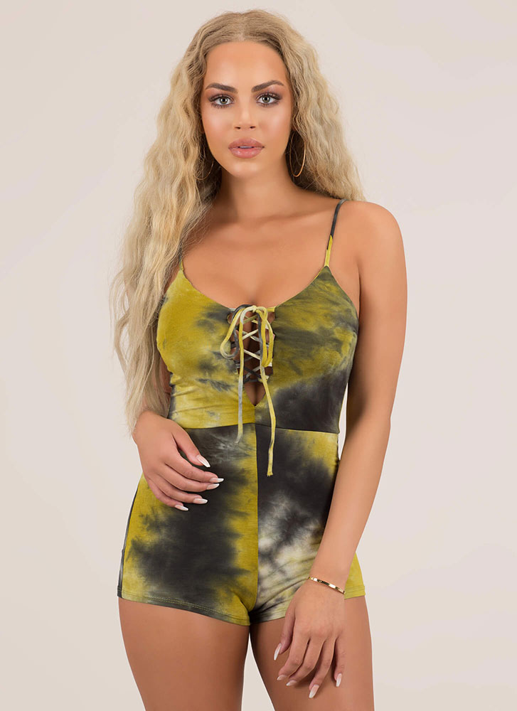 Ocean Breeze Tie-Dye Lace-Up Romper GREEN