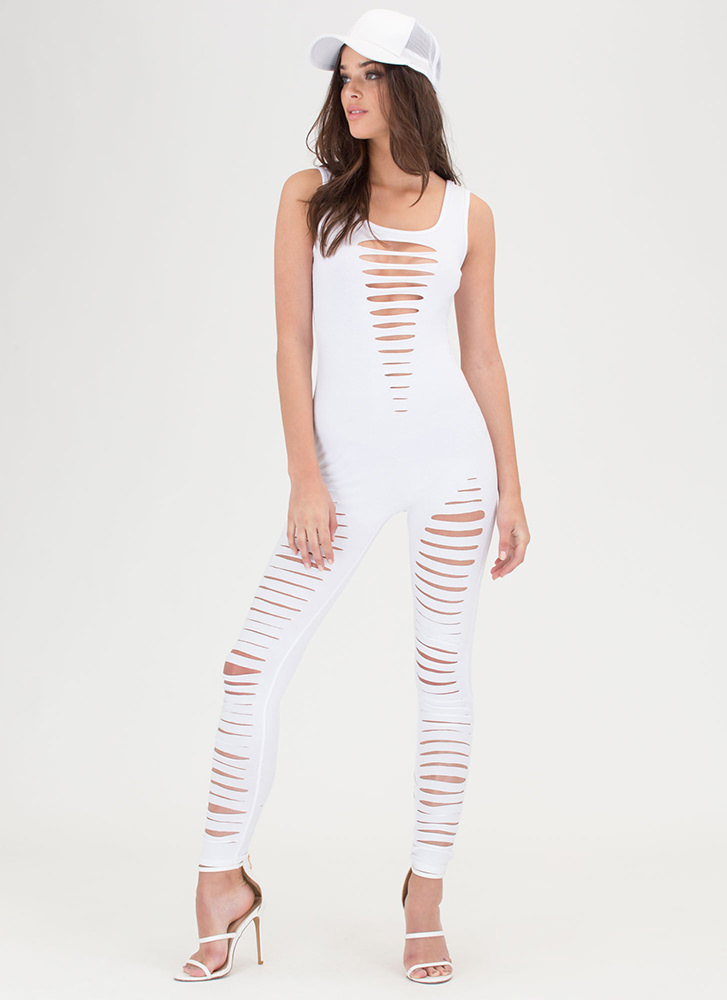Totally Slit It Scoop Jumpsuit WHITE