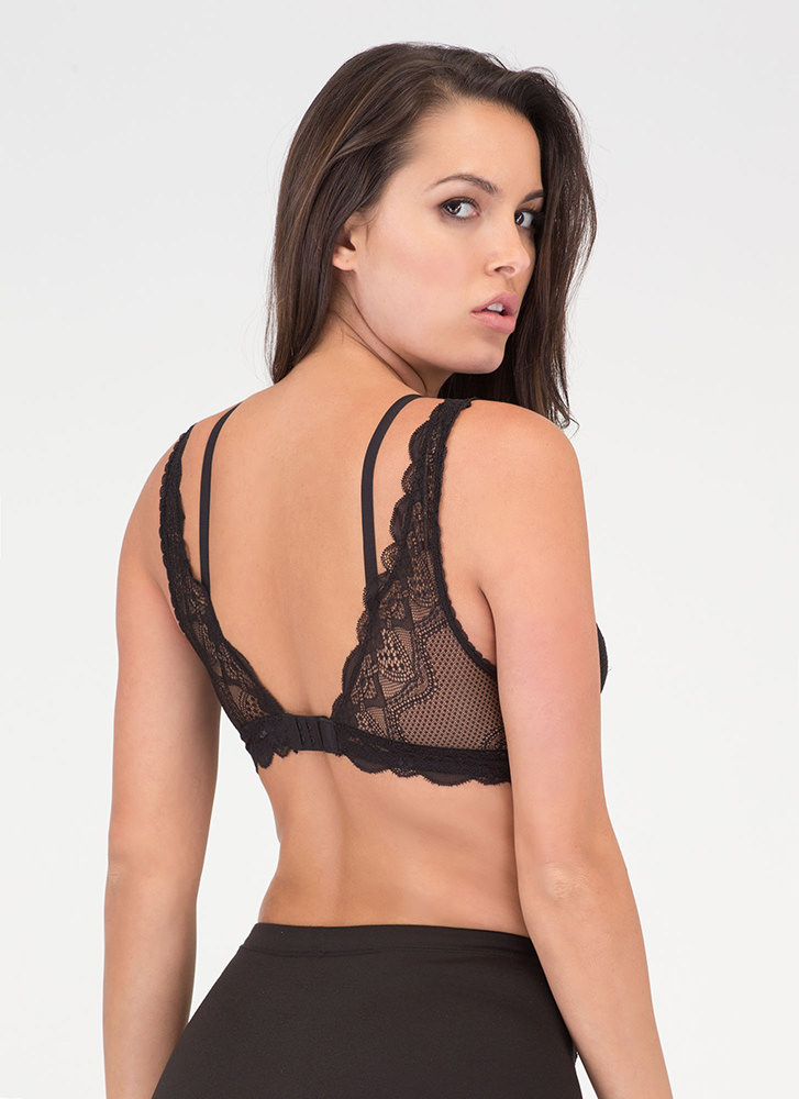 Underneath It All Sheer Layered Bralette BLACK
