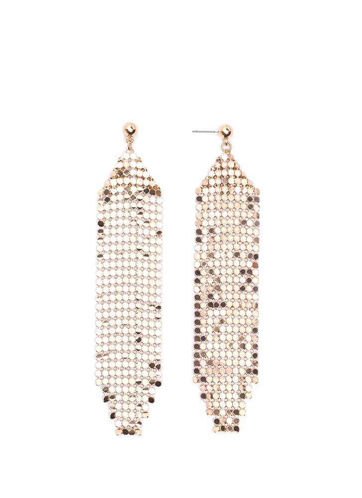 Shimmer Away Chainmail Panel Earrings GOLD