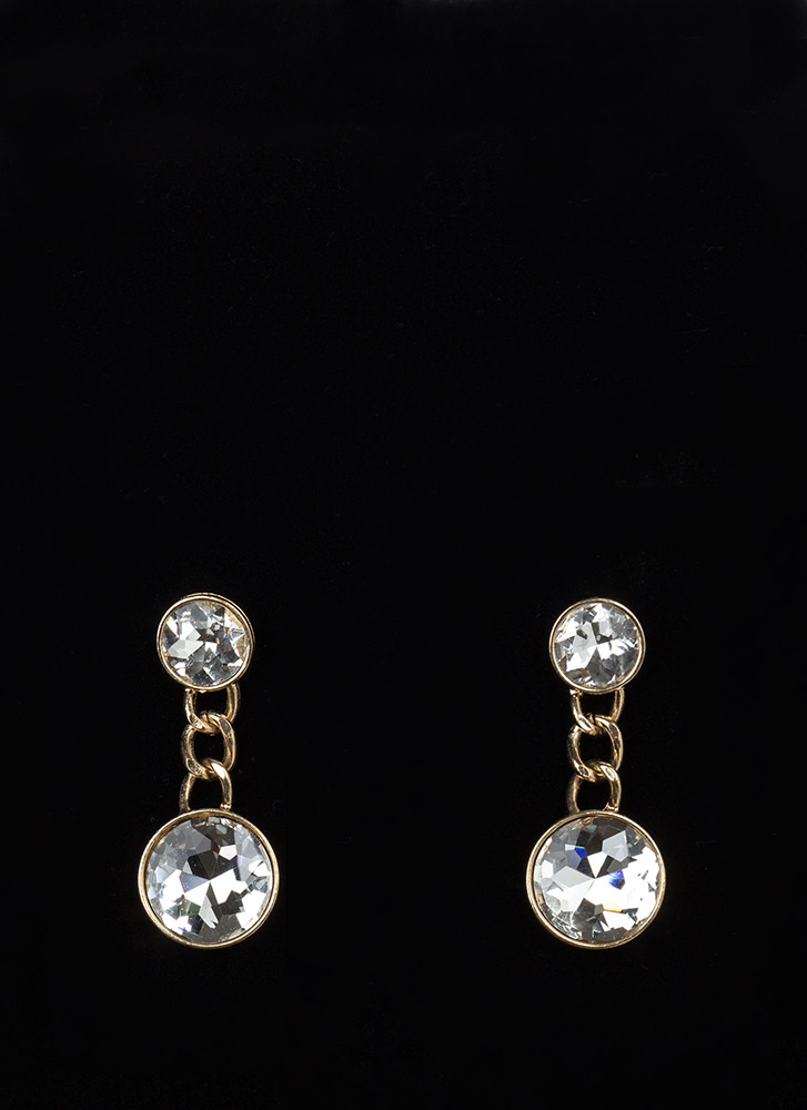 Seeing Double Faux Jewel Earrings GOLD