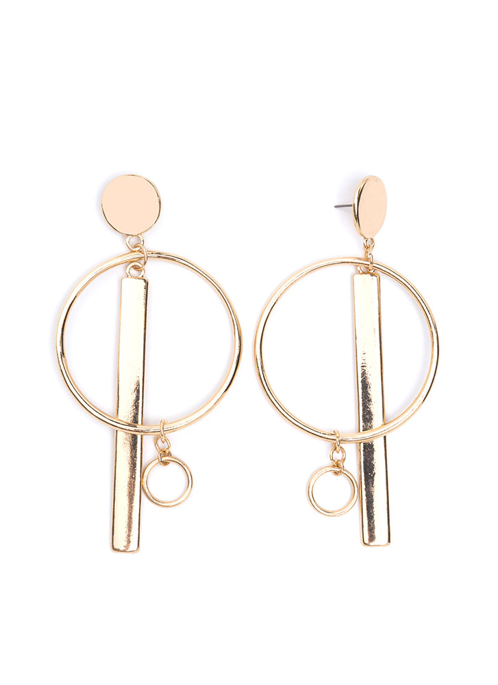 Bar And Away Statement Hoop Earrings GOLD (Final Sale)