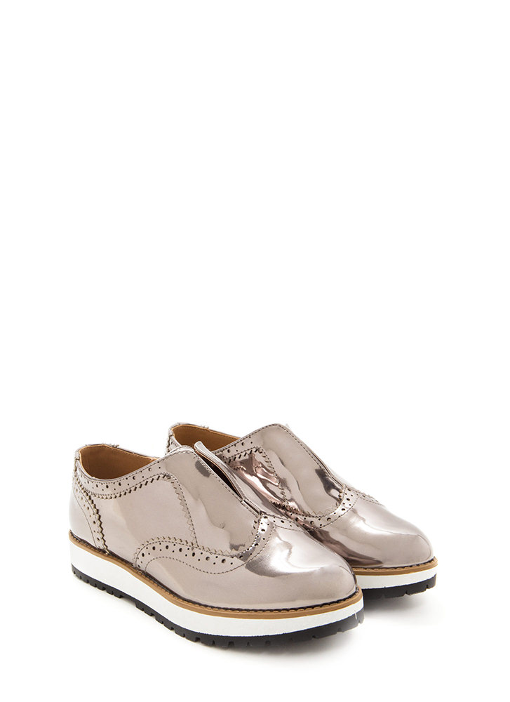 Less Is More Shiny Platform Oxfords PEWTER