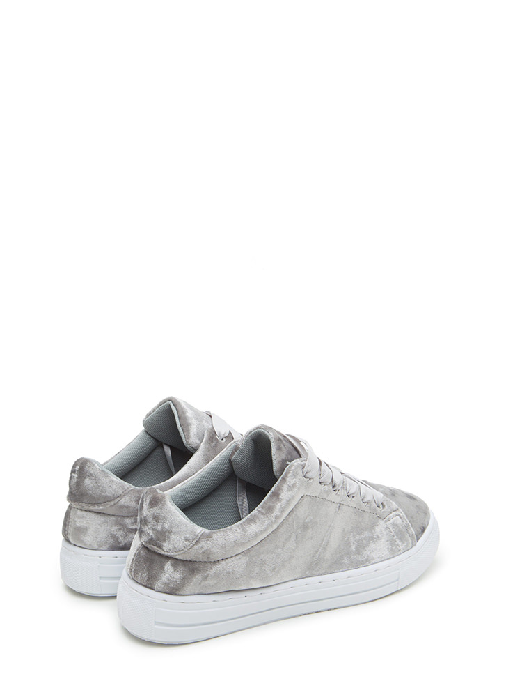 Feel Crushed Velvet Platform Sneakers LTGREY