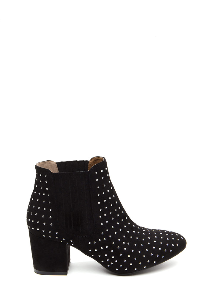 Star Studded Faux Suede Booties BLACK