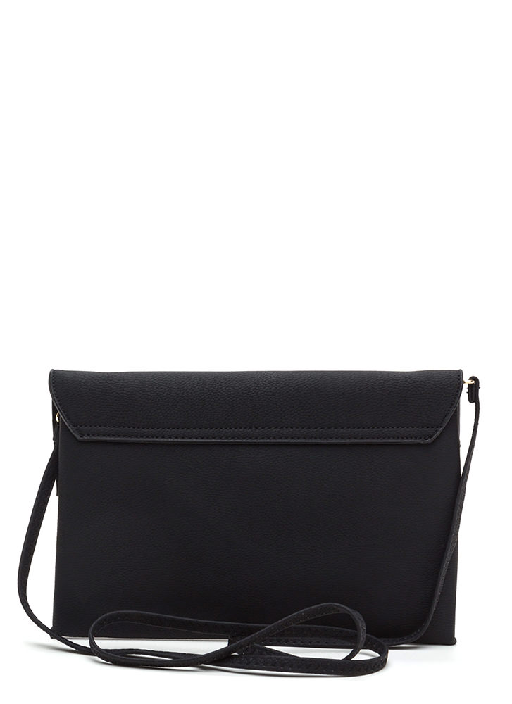Ring It Up Flat Faux Leather Clutch BLACK