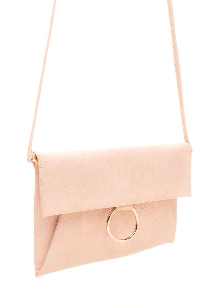 Ring It Up Flat Faux Leather Clutch PINK
