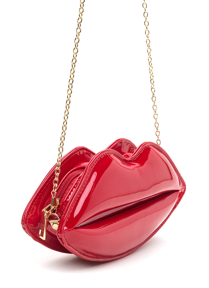 Pucker Up Faux Patent Lips Clutch RED