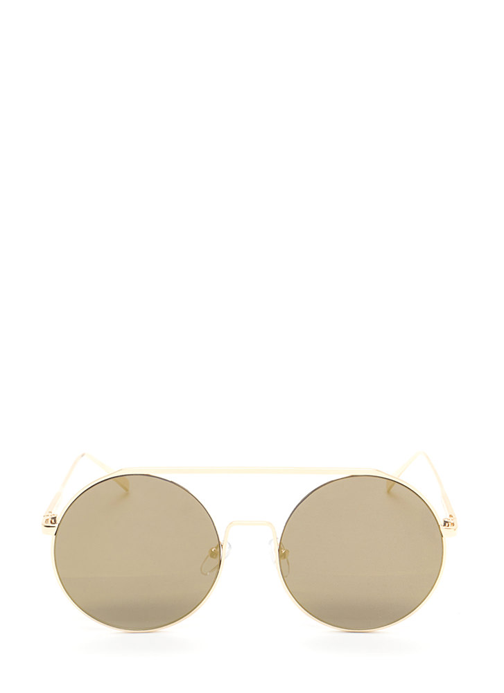 Festival Babe Round Top Bar Sunglasses GOLD