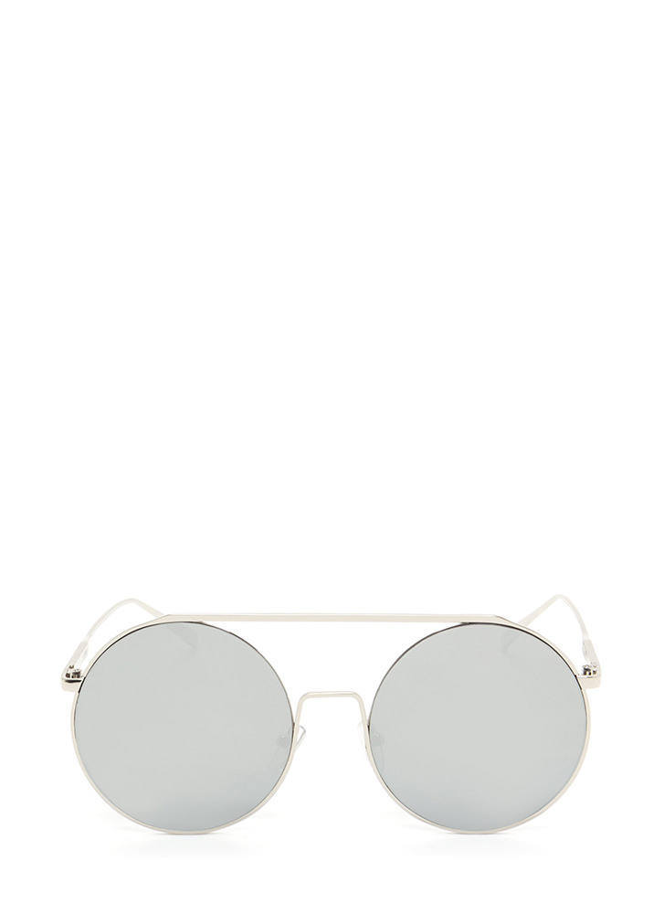 Festival Babe Round Top Bar Sunglasses SILVER
