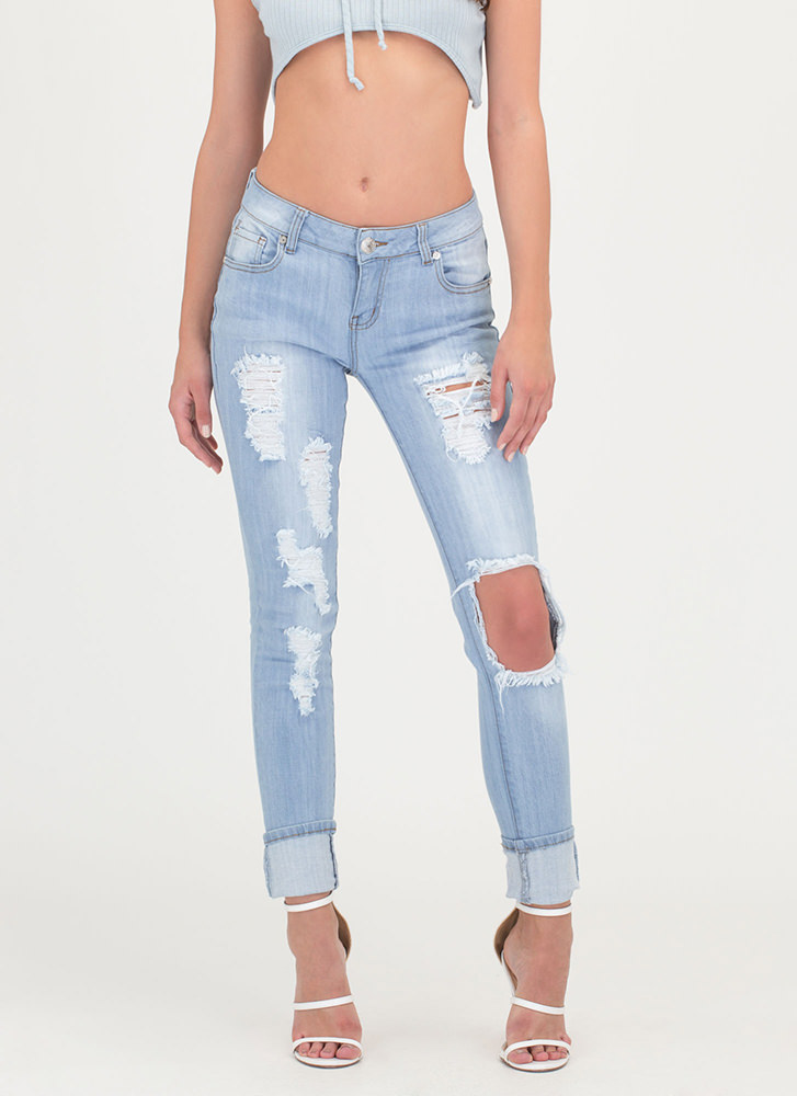 On One Knee Destroyed Skinny Jeans LTBLUE