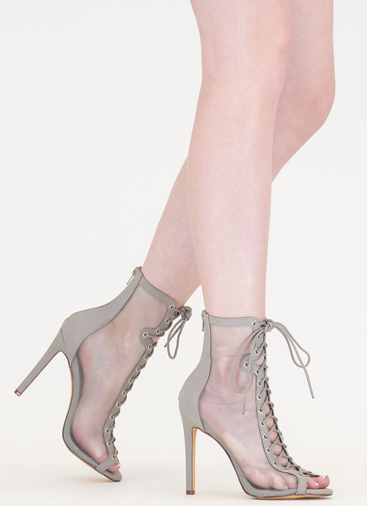 Just To Be Sheer Mesh Lace-Up Heels GREY