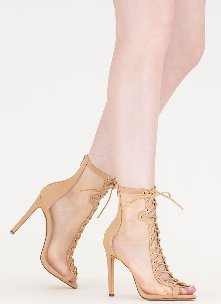 Just To Be Sheer Mesh Lace-Up Heels NUDE