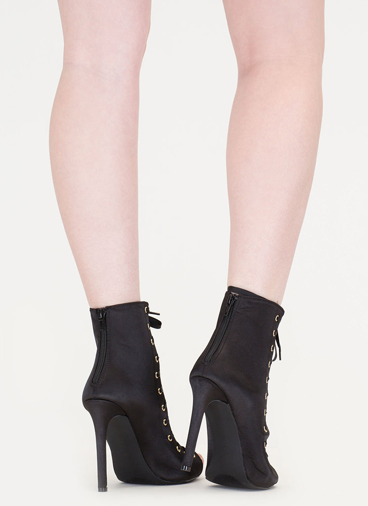 Smooth And Satiny Lace-Up Heels BLACK