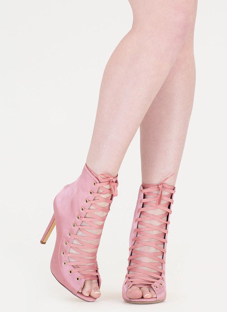 Smooth And Satiny Lace-Up Heels DUSTYPINK