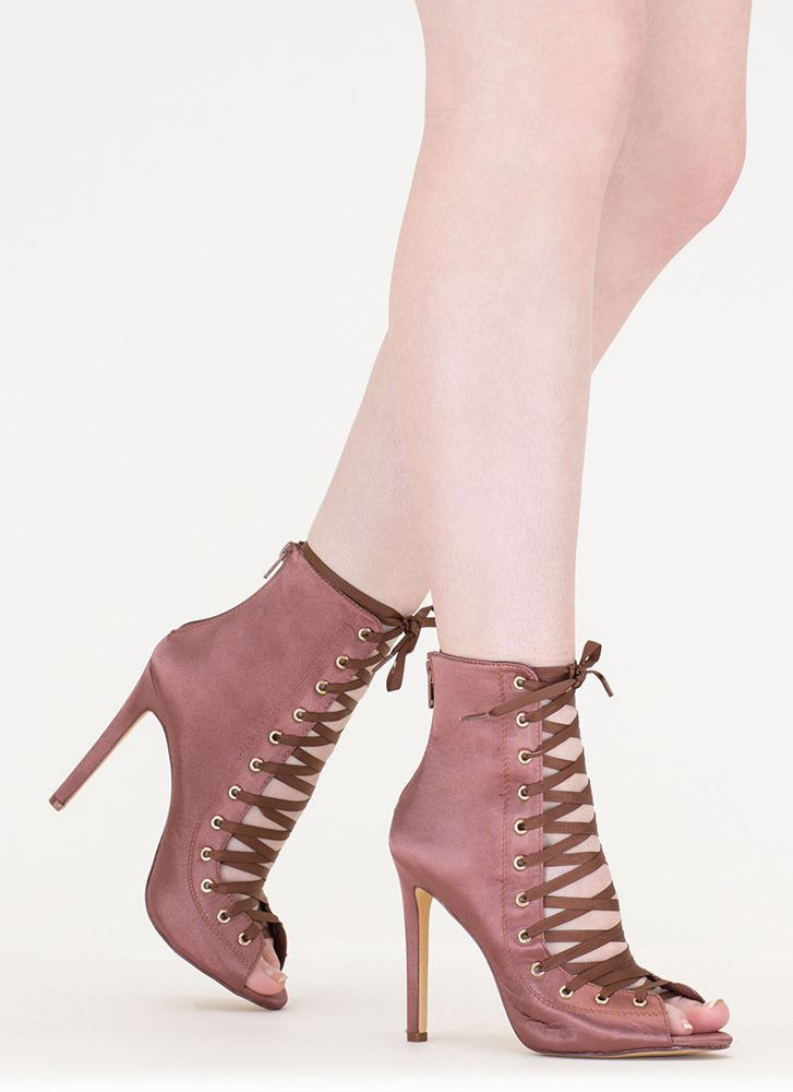 Smooth And Satiny Lace-Up Heels MOCHA