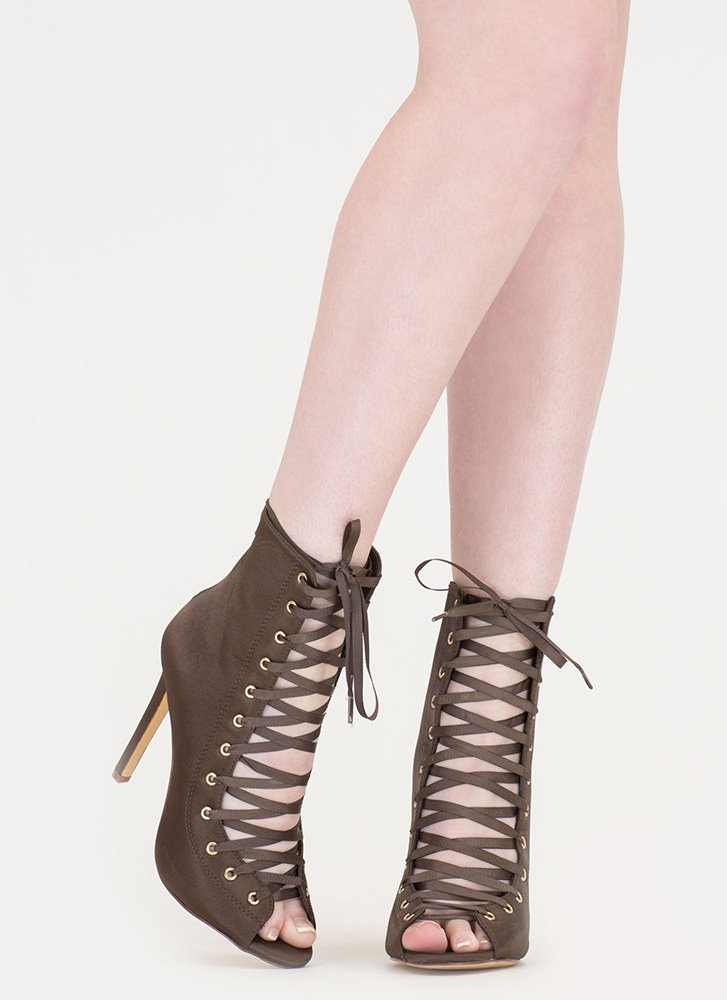 Smooth And Satiny Lace-Up Heels OLIVE