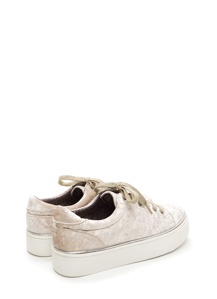 Oh High Crushed Velvet Platform Sneakers ICE