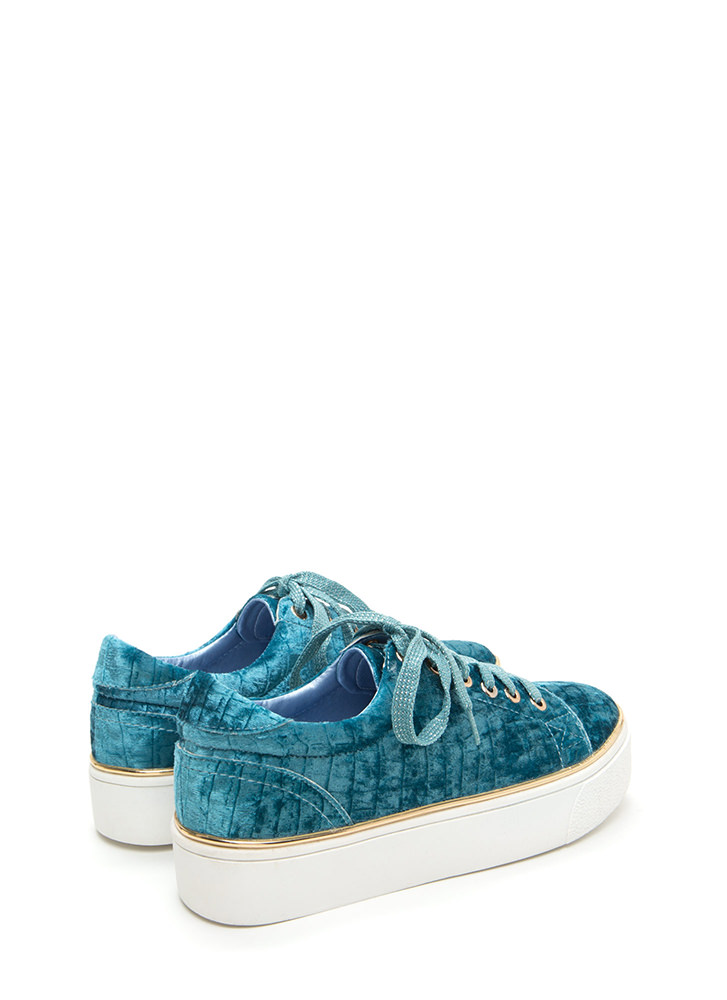 Oh High Crushed Velvet Platform Sneakers TURQUOISE
