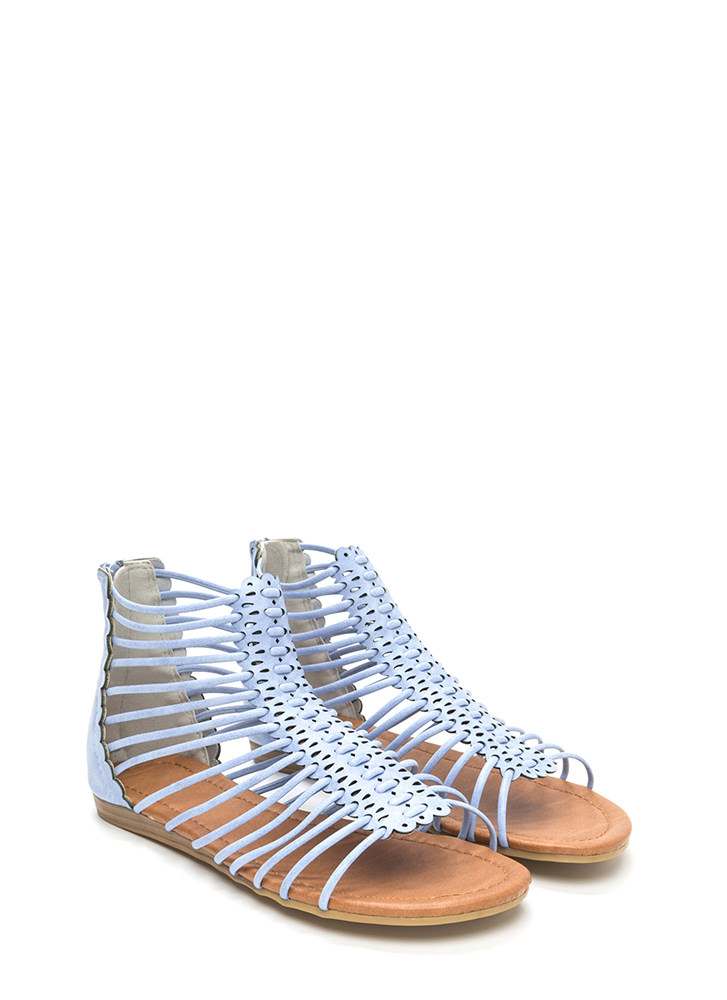 The Skinny Scalloped Gladiator Sandals BABYBLUE