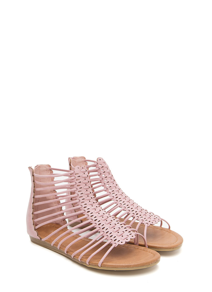 The Skinny Scalloped Gladiator Sandals DUSTYPINK