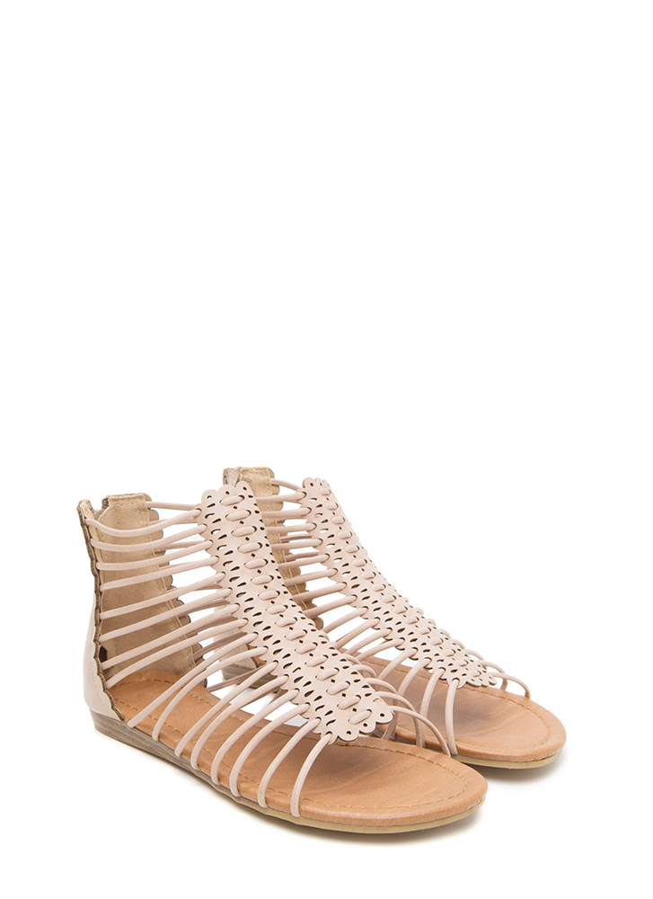 The Skinny Scalloped Gladiator Sandals NUDE