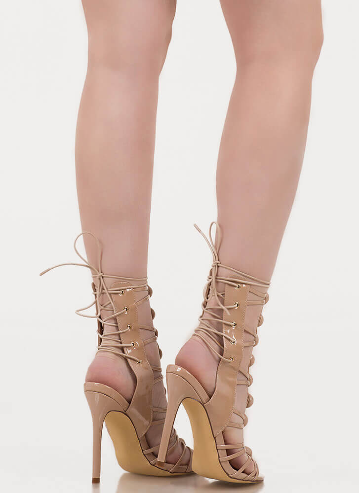 Dome Town Laddered Laced Back Heels NUDE
