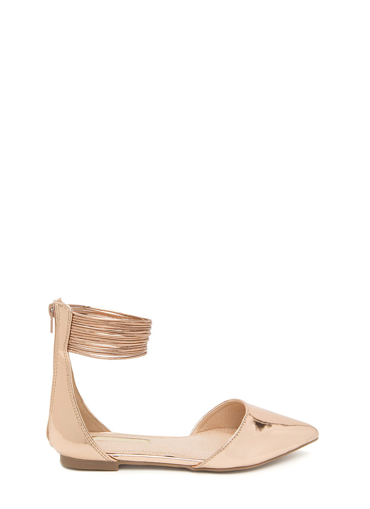 The Right Cords Pointy Metallic Flats ROSEGOLD (Final Sale)