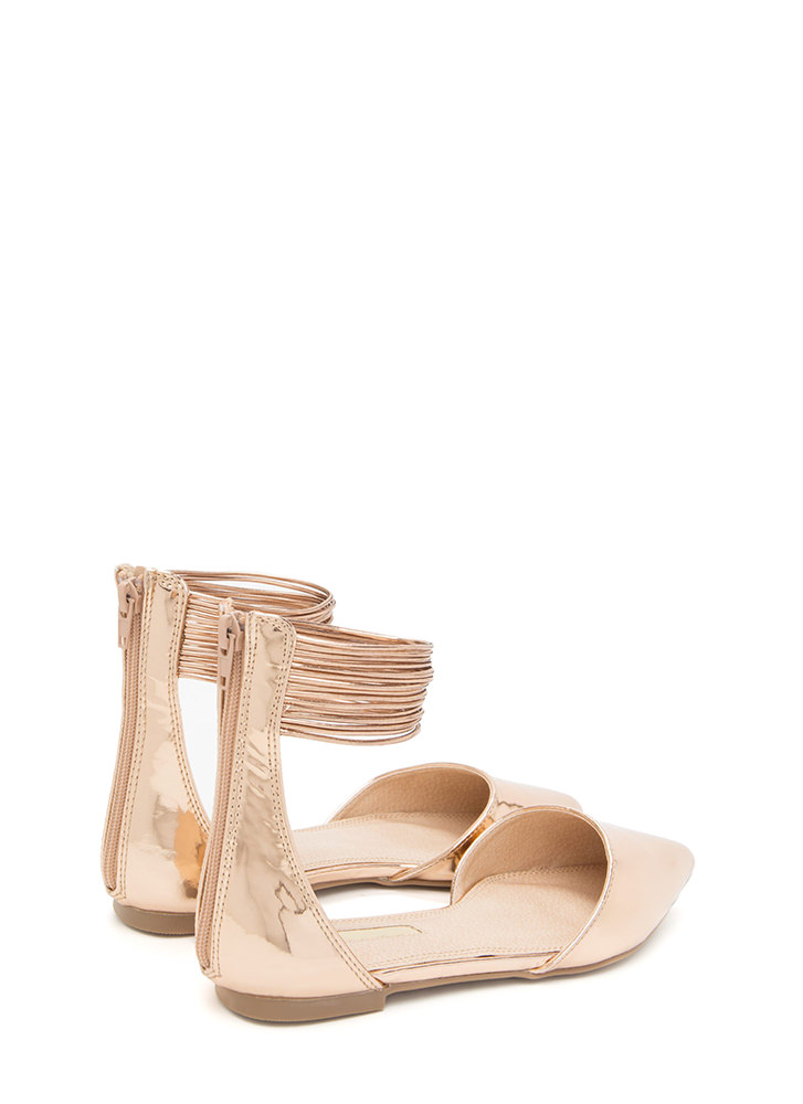 The Right Cords Pointy Metallic Flats ROSEGOLD