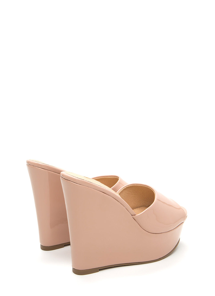 Easy Life Faux Patent Mule Wedges NUDE (Final Sale)