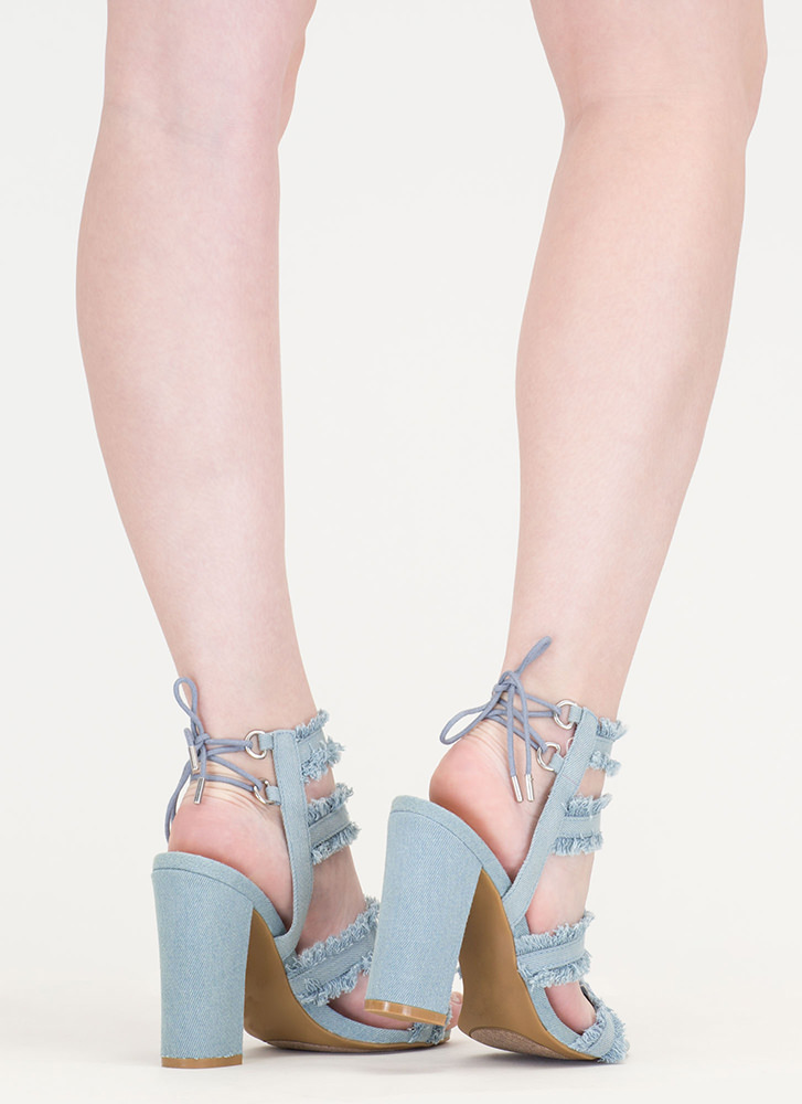 Fray List Chunky Denim Fringe Heels BLUE (Final Sale)