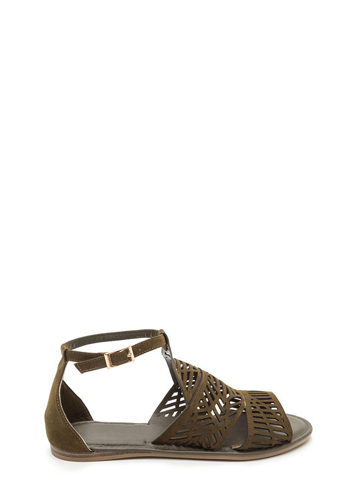 Make The Cut-Out Faux Suede Sandals OLIVE