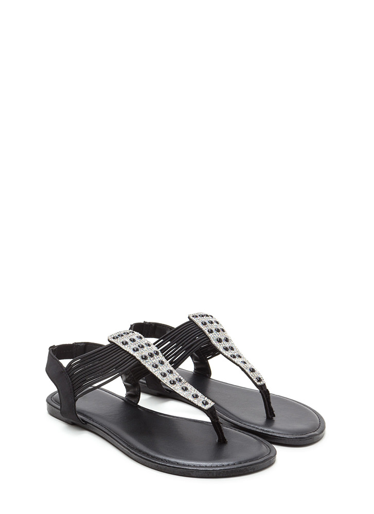 Stack Up Jeweled Satin Thong Sandals BLACK