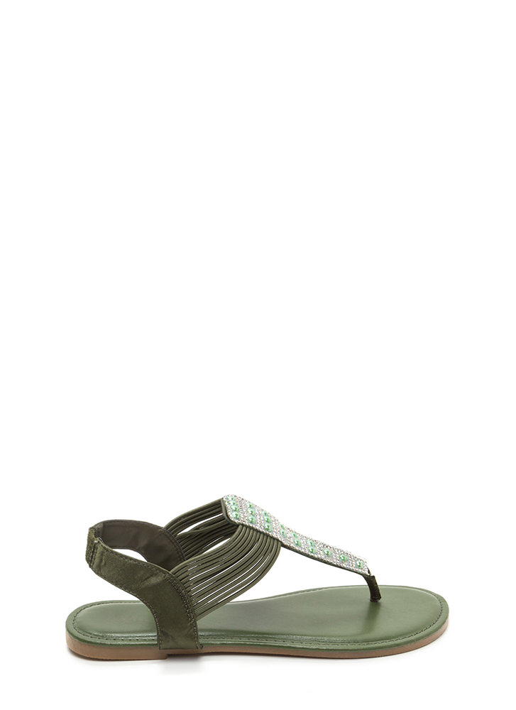 Stack Up Jeweled Satin Thong Sandals GREEN