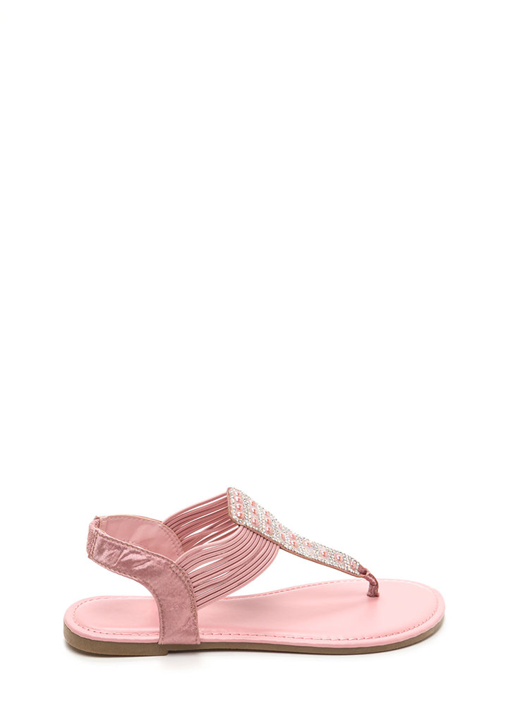 Stack Up Jeweled Satin Thong Sandals MAUVE