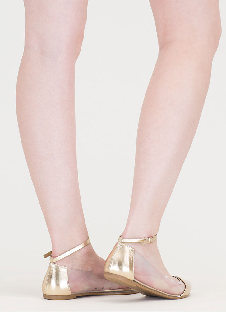 Power Points Clear Metallic Flats GOLD
