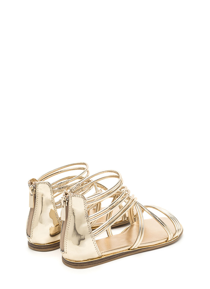Cage Myself Metallic Gladiator Sandals GOLD