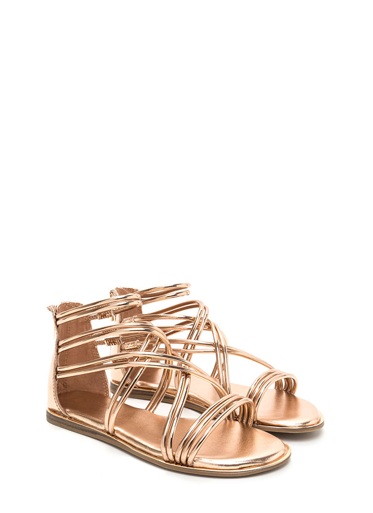 Cage Myself Metallic Gladiator Sandals ROSEGOLD