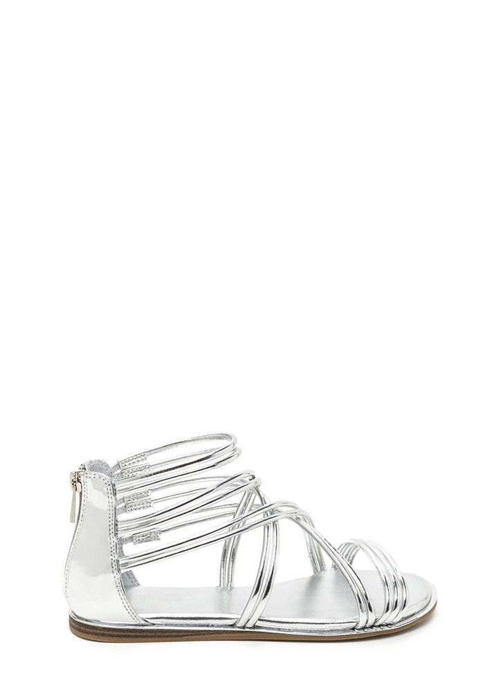 Cage Myself Metallic Gladiator Sandals SILVER