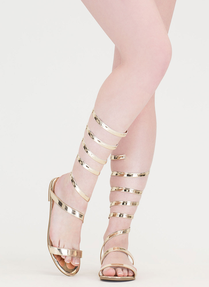 Wrap Party Faux Patent Gladiator Sandals GOLD