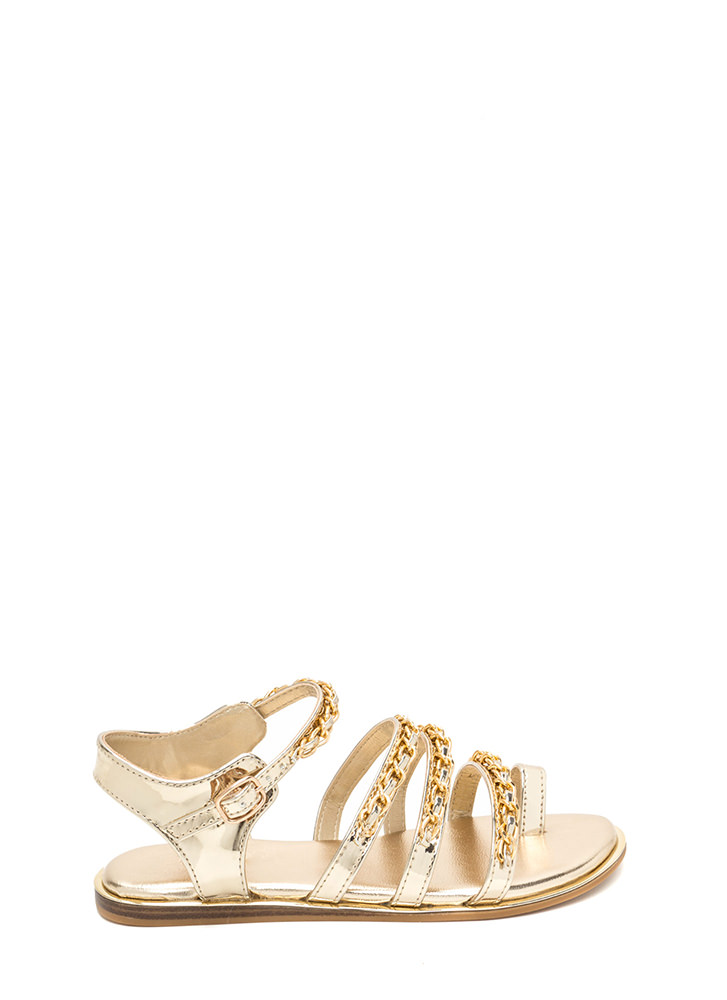 Four Chainz Strappy Faux Patent Sandals GOLD