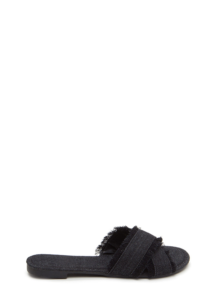 So X-Tra Frayed Denim Slide Sandals BLACK